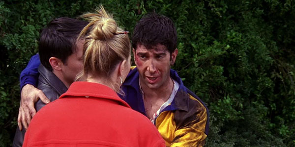 ross playing rugby in friends